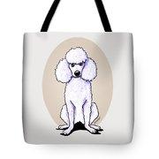 Kiniart White Poodle Tote Bag