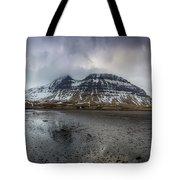 kirkjufellsfoss From Black Beach Tote Bag