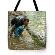 Kissing A Crocodile Tote Bag