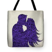 Kissing Couple Silhouette Ultraviolet Tote Bag