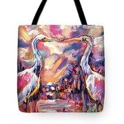 Kissing Egrets Never Forget Tote Bag