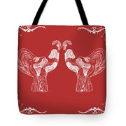 Kissing Roosters 4 Tote Bag