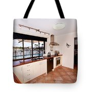 Kitchen With A River View Tote Bag
