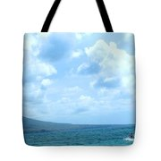 Kite Surfing With A Nevis Background Tote Bag