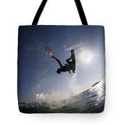 Kitesurfing In The Mediterranean Sea Tote Bag by Hagai Nativ