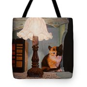 Kitten By The Lamp Tote Bag