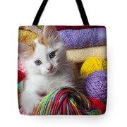 Kitten In Yarn Tote Bag