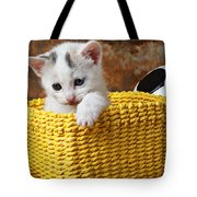 Kitten In Yellow Basket Tote Bag by Garry Gay