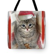 Kitten Playing Santa  Tote Bag