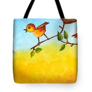 Kitten Scaring The Birds Tote Bag