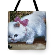 Kitten With Snail And Ball Tote Bag