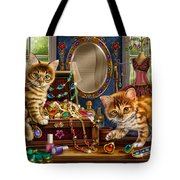 Kittens With Jewelry Box Tote Bag by Anne Wertheim