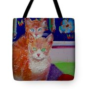 Kittens With Wild Wallpaper Tote Bag