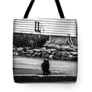 Kitty Across The Street Black And White Tote Bag