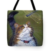 Kitty And The Dragonfly Close-up Tote Bag
