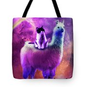 Kitty Cat Riding On Rainbow Llama In Space Tote Bag