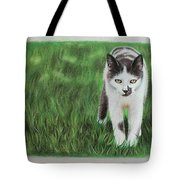 Kitty Grass Tote Bag