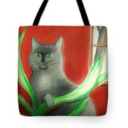 Kitty In The Plants Tote Bag