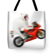 Kitty On A Motorcycle Doing A Wheelie Tote Bag