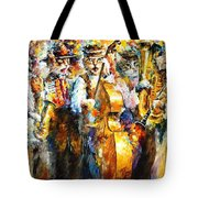 Klezmer Cats - Palette Knife Oil Painting On Canvas By Leonid Afremov Tote Bag
