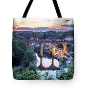 Knaresborough Viaduct Floodlit At Dusk Tote Bag