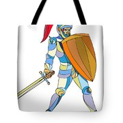 Knight Full Armor With Sword Defending Mosaic Tote Bag
