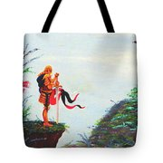 Knight On A Cliff Tote Bag