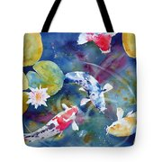 Koi And Waterlily Flower Tote Bag