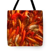 Koi Fishes In Feeding Frenzy Tote Bag