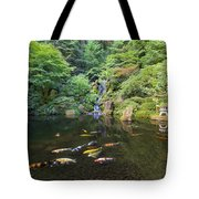 Koi Fish In Waterfall Pond At Japanese Garden Tote Bag