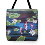 Koi In Lilly Pond Tote Bag