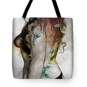 Koi No Yokan - Erotic Drawing, Sexy Tattoo Girl In Thong Biting An Apple Tote Bag