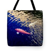 Koi On Blue And Gold Tote Bag