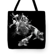 Koi With Honeysuckle Reflections In Black And White Tote Bag