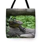 Komodo Dragon Climbing Over A Fallen Tree Tote Bag
