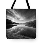Kootenay Lake Sunrise Black And White Tote Bag