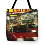Kowloon Street Scene At Night With Neon Tote Bag