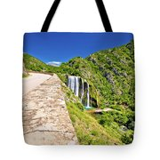 Krcic Waterfall In Knin Scenic View Tote Bag