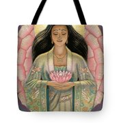Kuan Yin Pink Lotus Heart Tote Bag by Sue Halstenberg