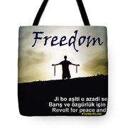 Kurdish Peace And Freedom Poster Tote Bag