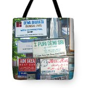 Kuta Street Signs -- Bali Tote Bag