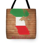 Kuwait Rustic Map On Wood Tote Bag