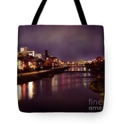 Kyoto Nighttime City Scenery Of Kamo River With Street Lights Re Tote Bag