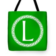L Surrounded By Fret Wreath - White Tote Bag