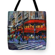 La Rotonde Paris Modern Impressionist Palette Knife Oil Painting Tote Bag