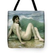 La Vague Tote Bag by William Adolphe Bouguereau