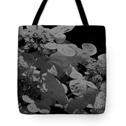 Lace Cap Hydrangea In Black And White Tote Bag