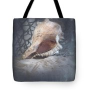 Lace Murex Sea Shell In Blue Tote Bag