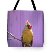 Rare Yellow Cardinal On A Cherry Branch Tote Bag