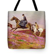 Lady Currie With Her Sons Bill And Hamish Hunting On Exmoor  Tote Bag